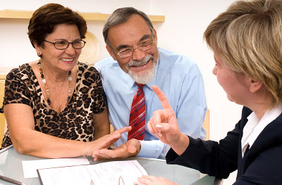mature couple meeting with tax specialist